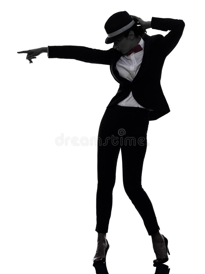 Stylish woman dancer dancing silhouette. One caucasian woman dancer dancing in silhouette on white background stock photo