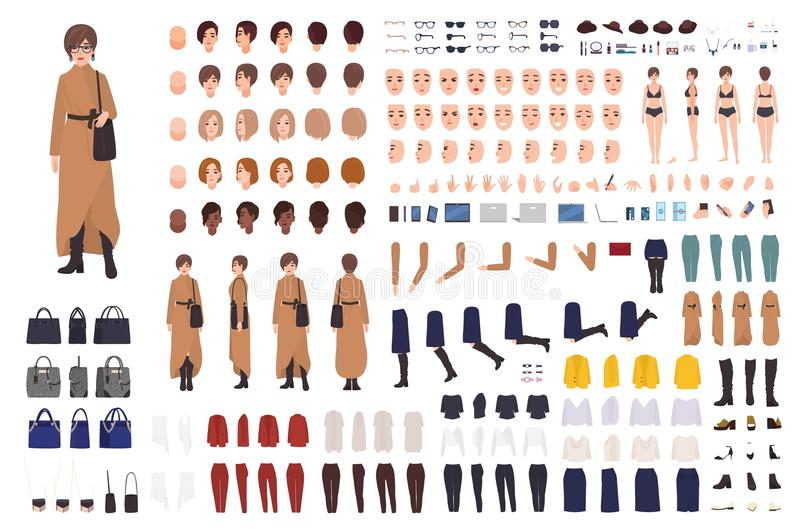 Stylish woman of middle ages constructor or DIY kit. Collection of female cartoon character body parts, facial royalty free illustration