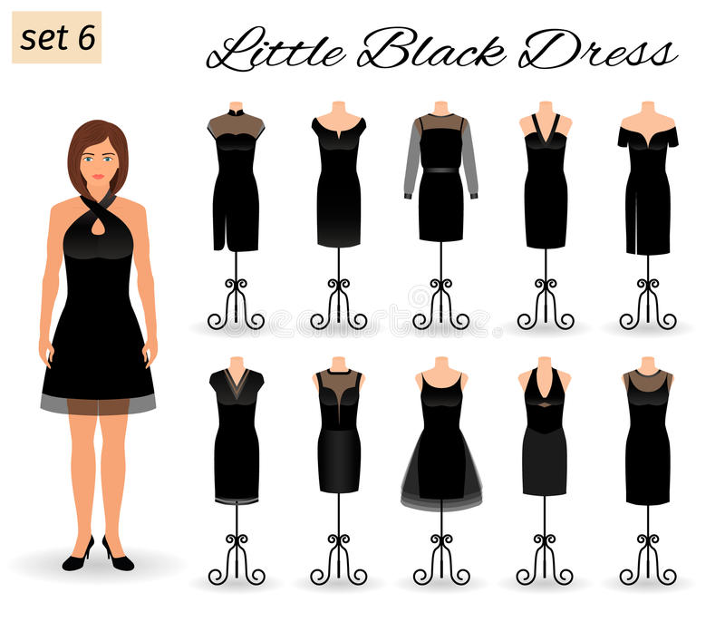 Stylish woman model character in little black dress. Set of cocktail dresses on a mannequins. vector illustration
