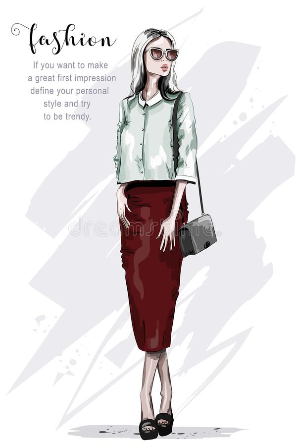 Stylish woman in red skirt. Fashion woman. Hand drawn beautiful young lady in sunglasses. Sketch. vector illustration