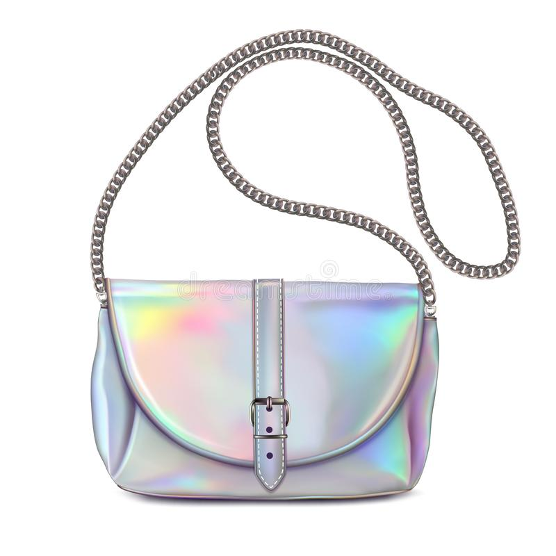Stylish women`s handbag. Colors holographic with chain handle. Isolated on white royalty free illustration