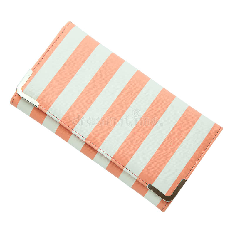 Stylish women`s purse pink striped isolated on the white background. Closeup of modern pink leather wallet over white stock images