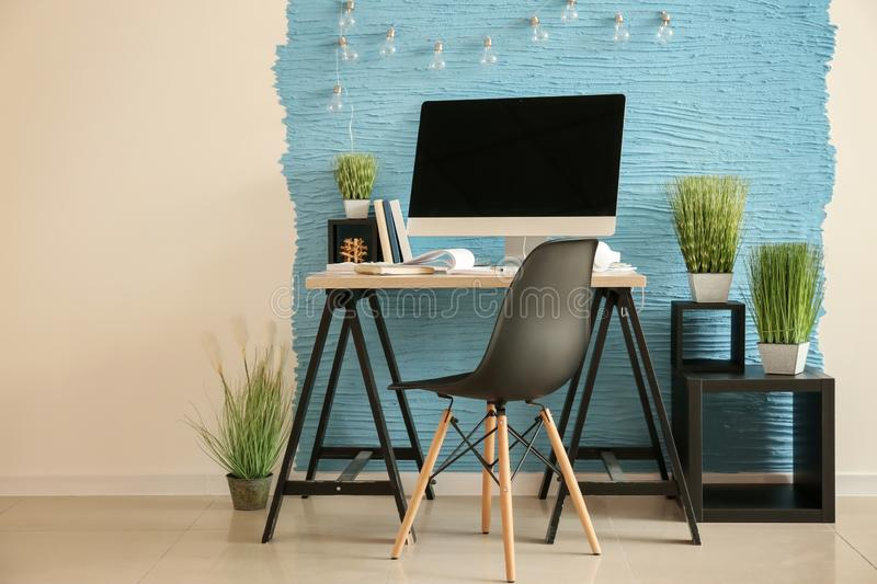 Stylish workplace of designer with modern computer royalty free stock image