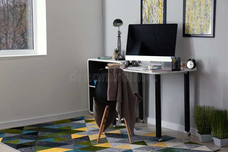 Stylish workplace of designer with modern computer royalty free stock photos