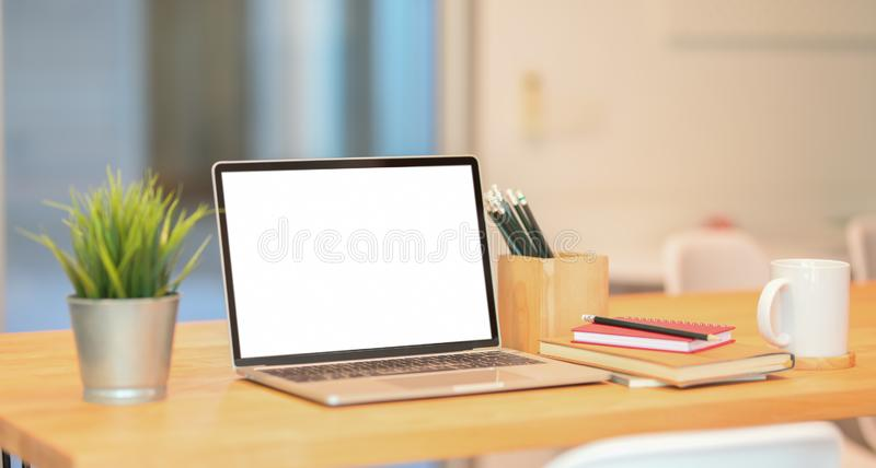 Stylish workspace with laptop computer royalty free stock images