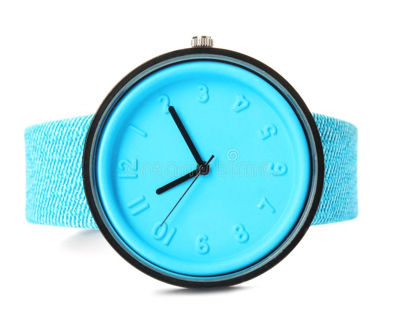 Stylish wrist watch on white background. Fashion. Accessory stock photography