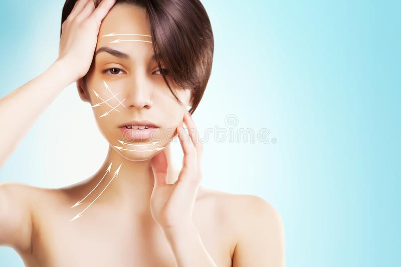 Stylish young asian model with surgery marks on her face royalty free stock photo