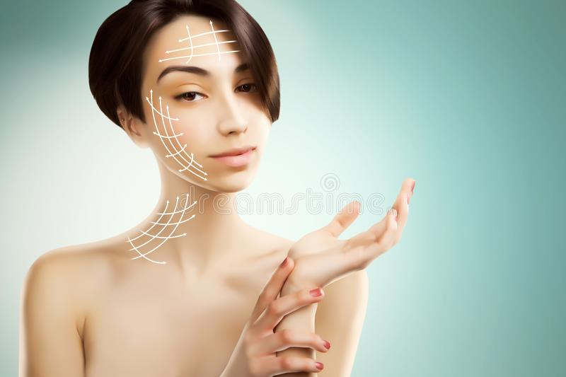 Stylish young asian model with surgery marks on her face stock image