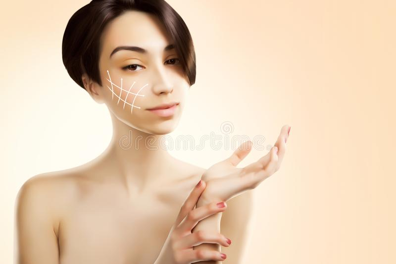 Stylish young asian model with surgery marks on her face stock photo