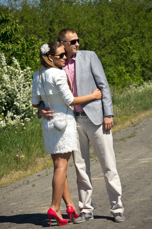 Stylish young couple in countryside royalty free stock photo