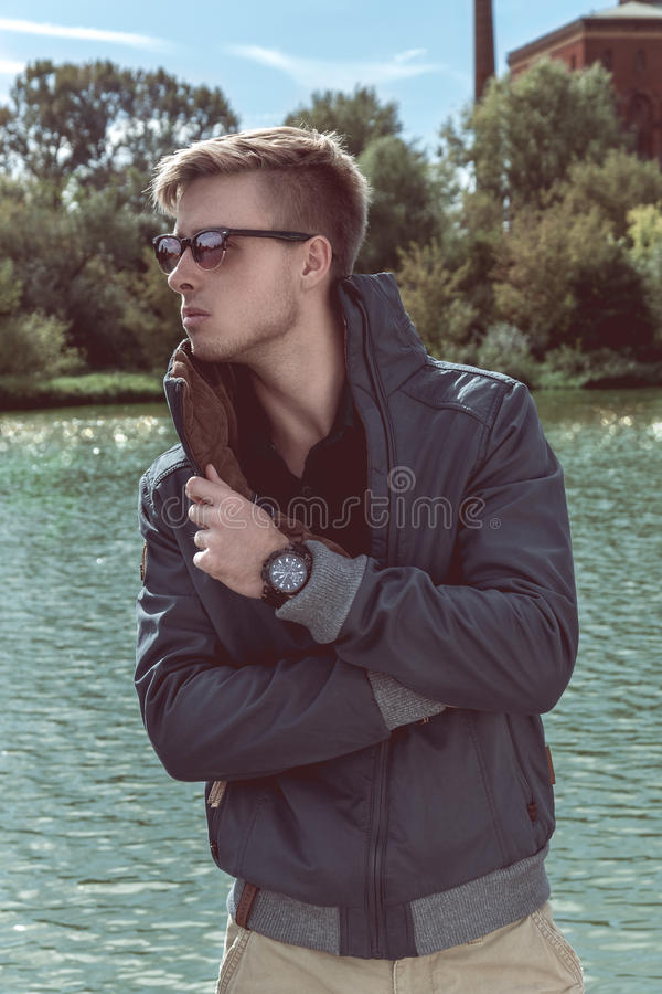 Stylish young handsome man royalty free stock photo