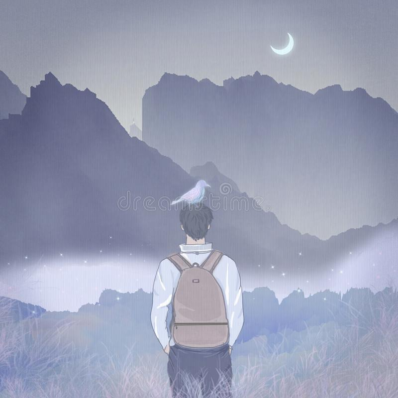 Stylish young man backpack outdoor hiking travel, the moon shines far away from the mountains vector illustration