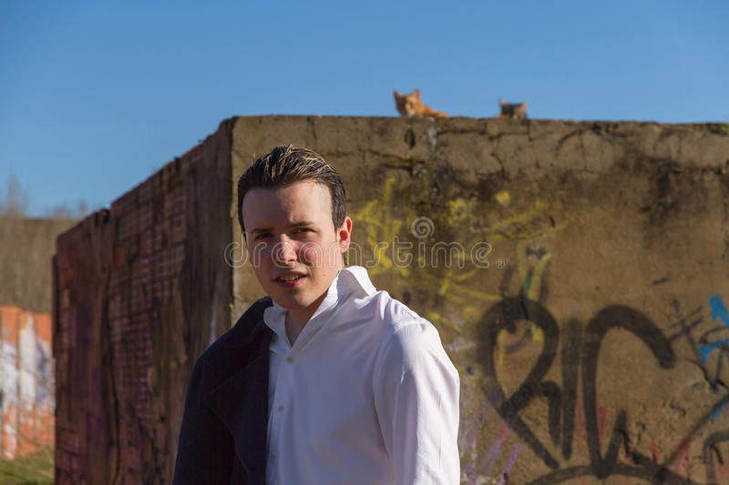 Stylish Young Man with Cats and Graffiti. Smart young man, outdoors, white shirt and jacket hanging man, bottom painted brick wall with graffiti and cats at the royalty free stock image