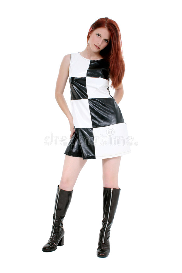 Stylish Young Woman In Leather Mini Dress And stock photo