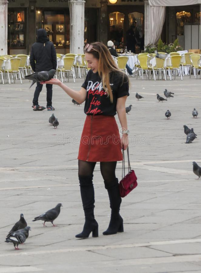 Stylish young woman with pigeons stock images