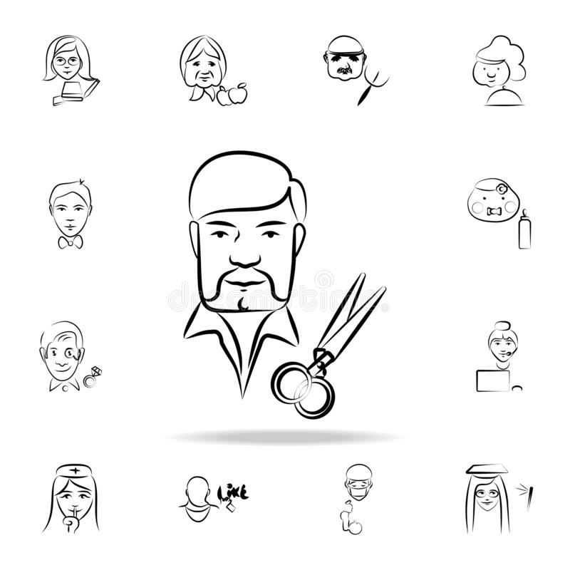 stylist avatar sketch style icon. Detailed set of profession in sketch style icons. Premium graphic design. One of the collection royalty free illustration