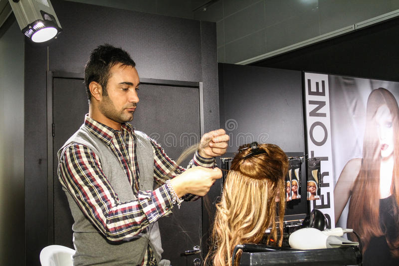 Stylist builds up the hair on the wig stock photo