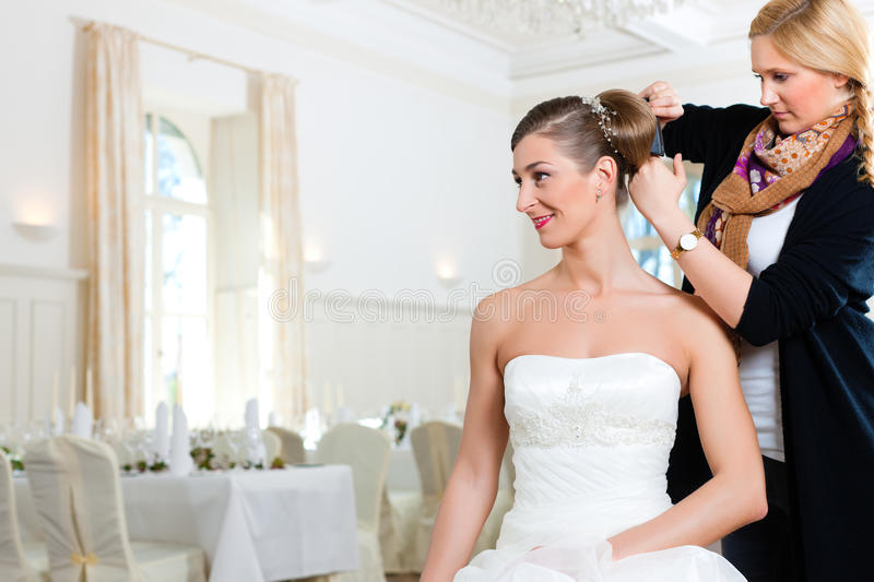 Download Stylist Pinning Up A Bride's Hairstyle Stock Image - Image of hairdresser, white: 19121009