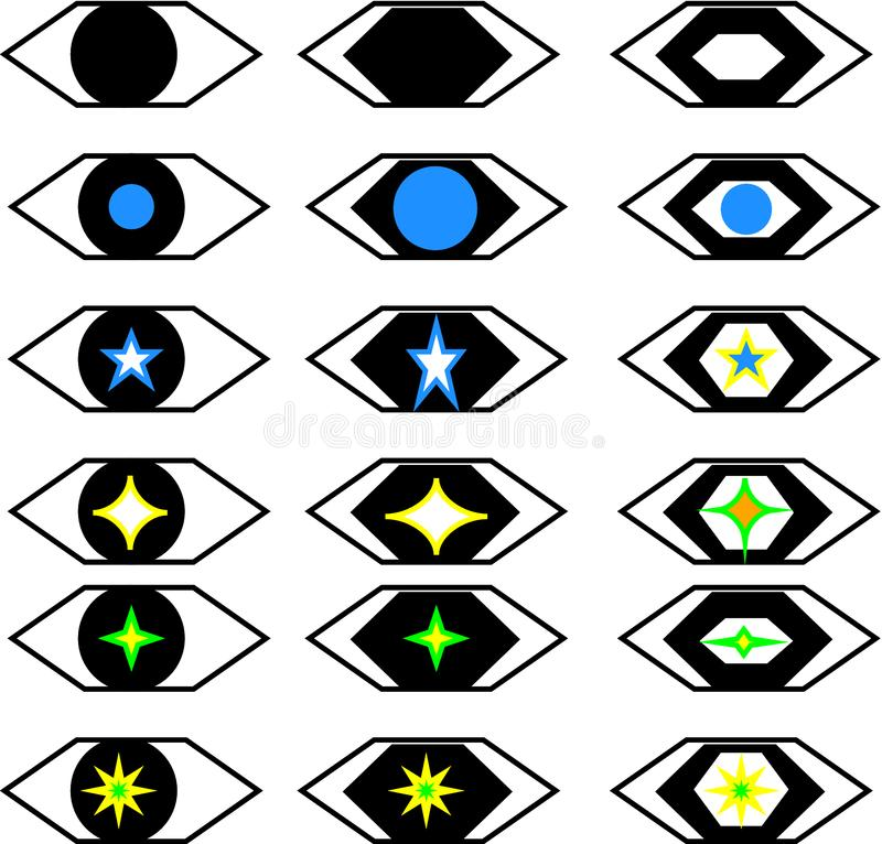 Stylist toy eye sets royalty free stock images