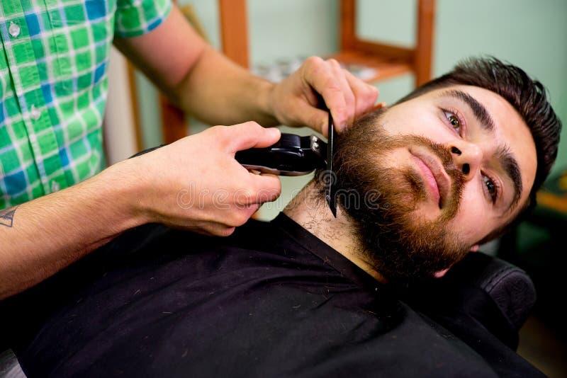 Stylist trimming beard royalty free stock photos