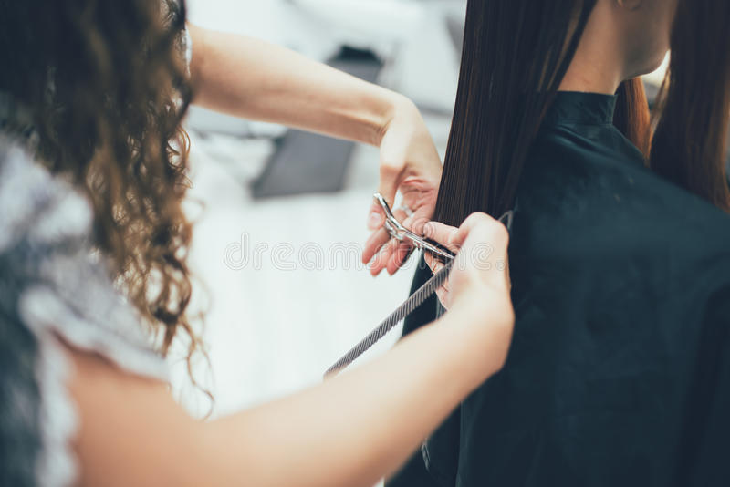 Stylist working in the beauty salon, haircut and hair styling. Modern hair care royalty free stock photography