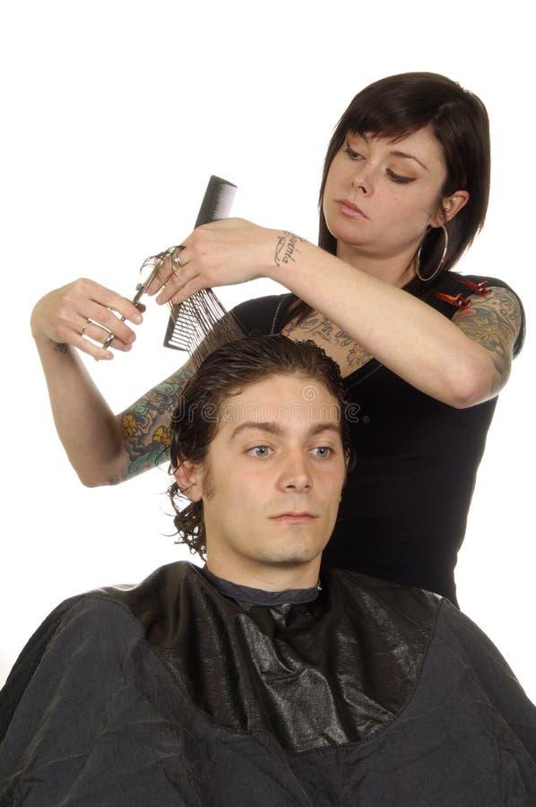 styliste de cheveu et jeune homme image stock image du toilettage comp tence 3314417. Black Bedroom Furniture Sets. Home Design Ideas