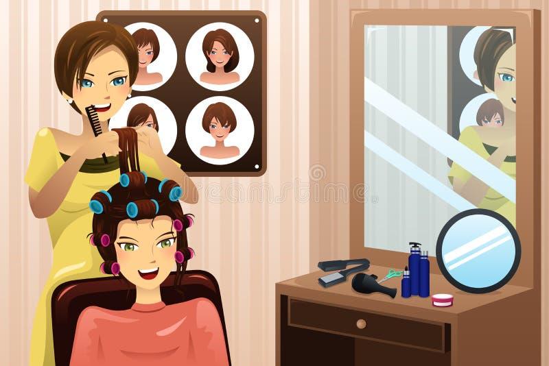 Styliste en coiffure travaillant dans un salon illustration libre de droits