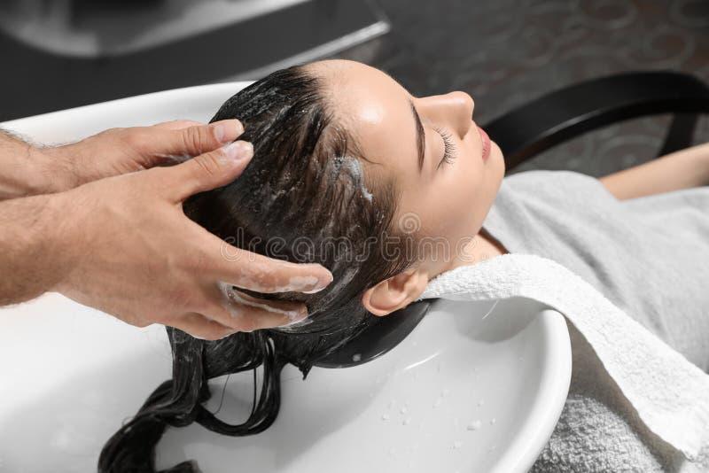 Stylisttvagningklients hår på vasken arkivbild