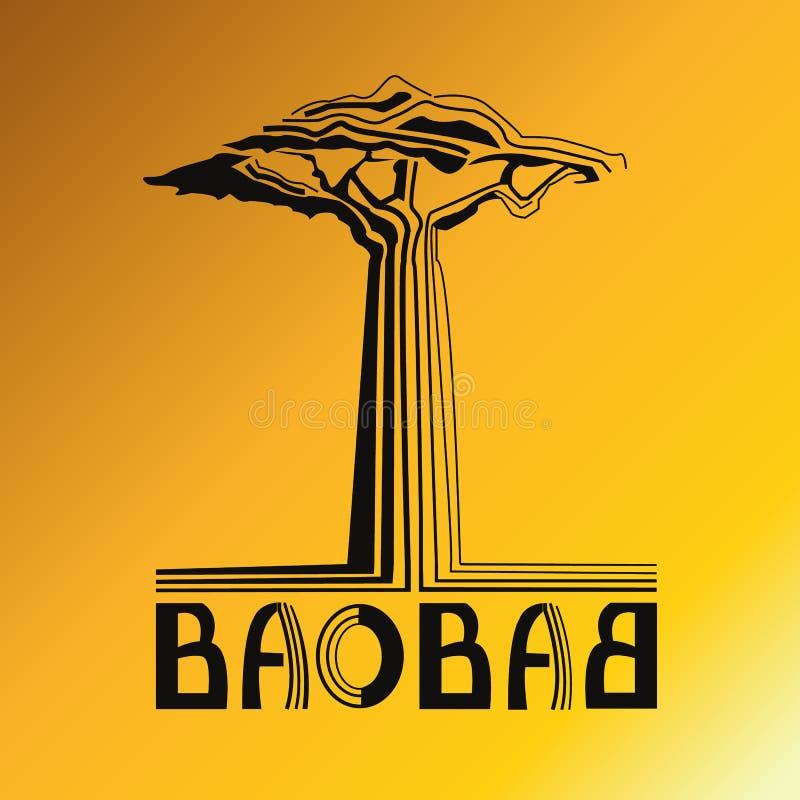 Stylizacyjny drzewny baobab z tekstem obraz stock