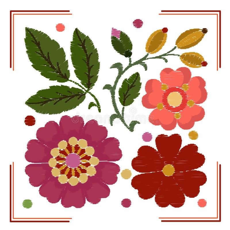 Stylization av beståndsdelar av broderi av blommor, sidor och nyponet royaltyfri illustrationer