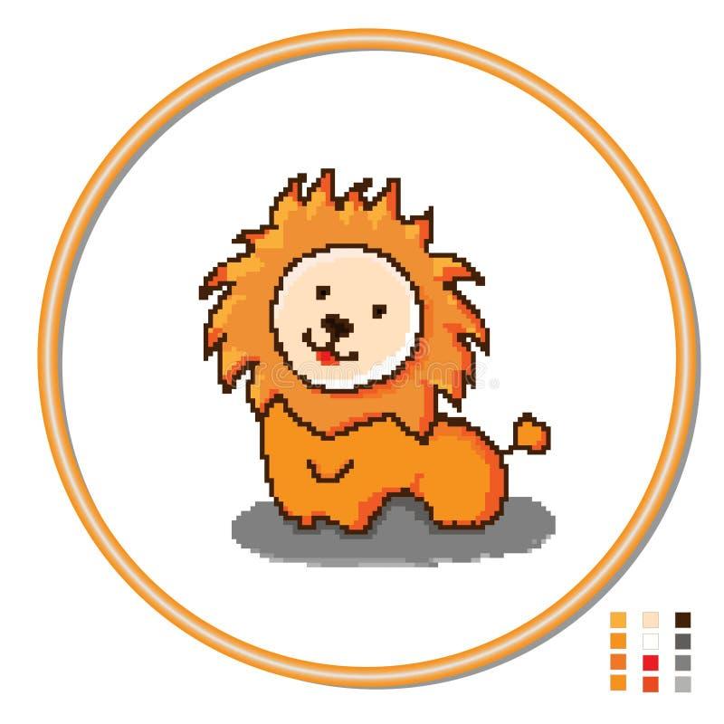 Stylization del leone dicucitura dei giocattoli dei bambini s Vettore illustrazione di stock
