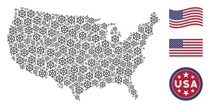 Stylization della mappa di U.S.A. del volante della barca illustrazione vettoriale