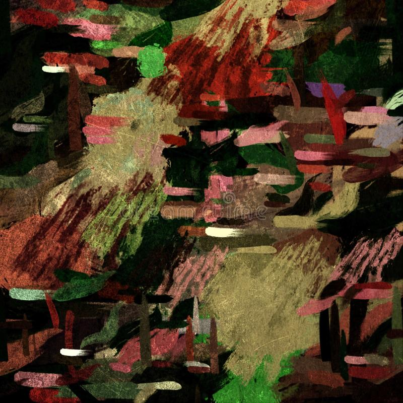 Stylization gr?fico do fundo psicad?lico abstrato do grunge em uma lona textured de cursos obscuros ca?ticos e de cursos da pintu ilustração stock