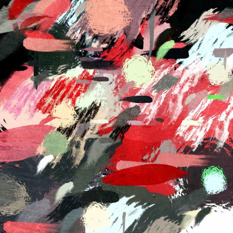 Stylization gr?fico do fundo psicad?lico abstrato do grunge em uma lona textured de cursos obscuros ca?ticos e de cursos da pintu ilustração do vetor