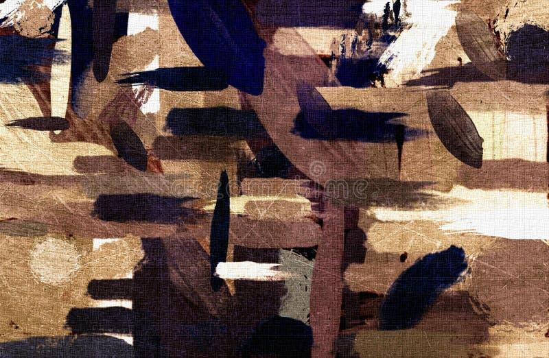 Stylization graphique de fond grunge psychédélique de résumé sur une toile texturisée des courses troubles chaotiques et des cour illustration stock