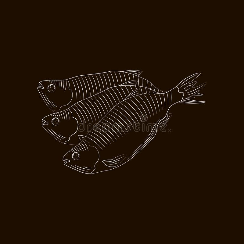 Stylization by hand drawing. Fish for beer vector isolated royalty free illustration