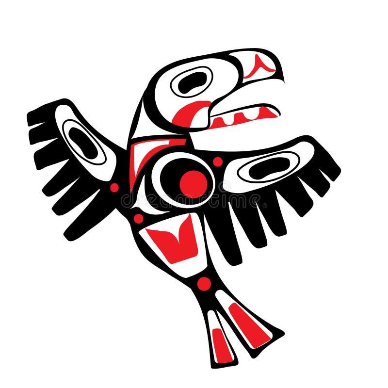 Stylization indigène d'art d'oiseau de totem illustration libre de droits