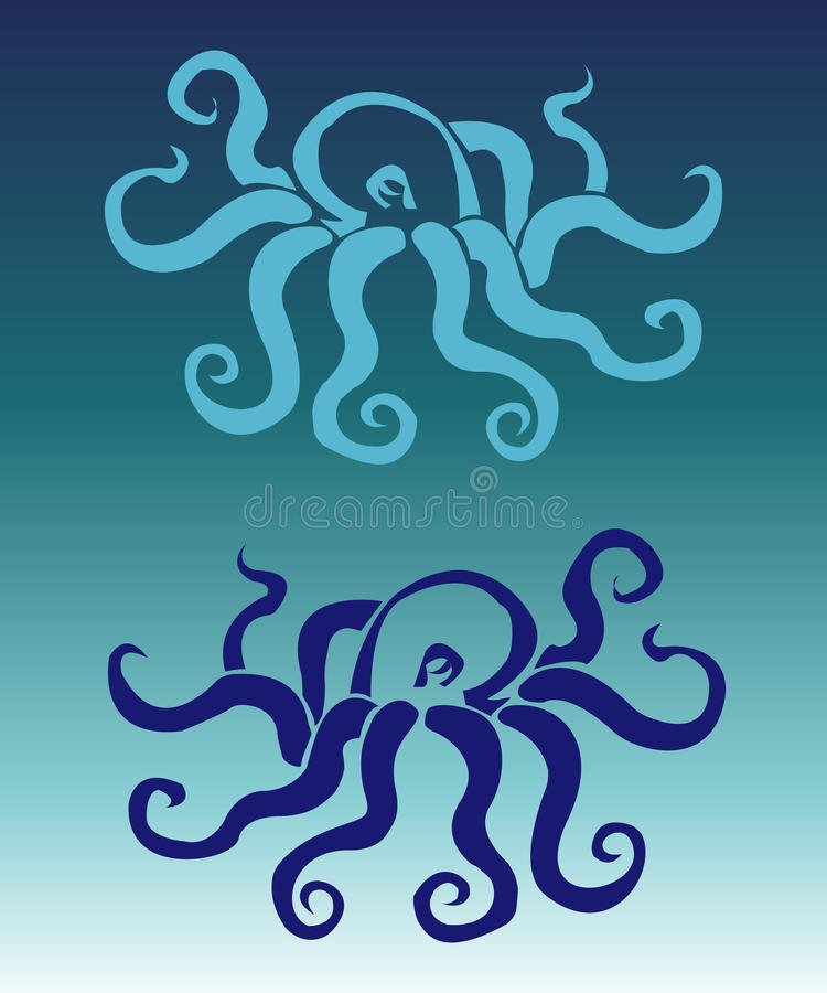 Stylization octopus colors royalty free stock images