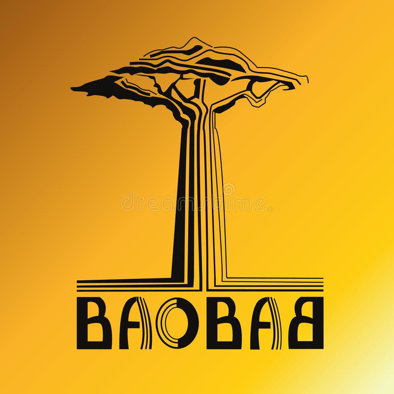 Stylization tree baobab with text stock image