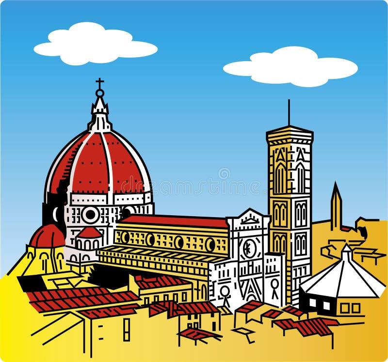 Stylization van de kathedraal van Florence stock illustratie