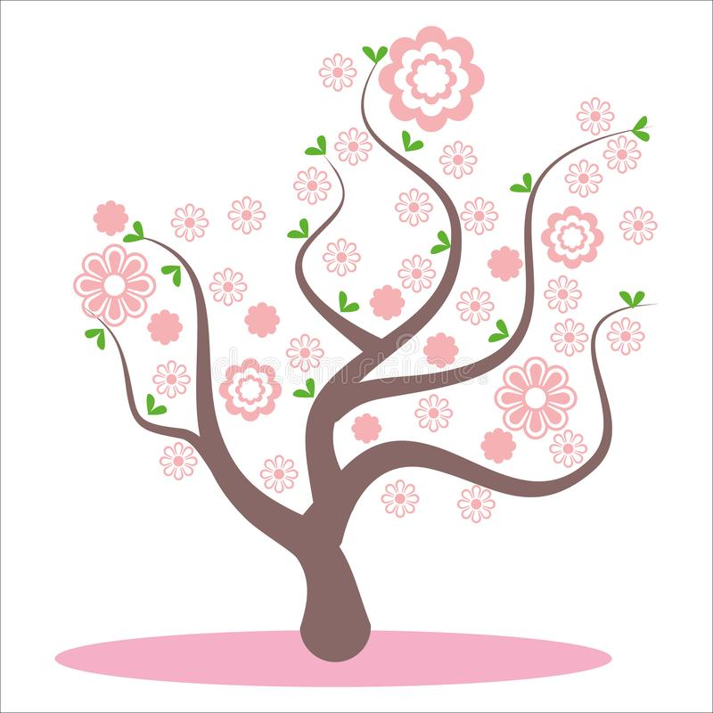 Stylized, abstract spring tree. Flowers on the branches, flowers on the tree. Sakura blossom, pink beautiful flowers, flowering royalty free illustration