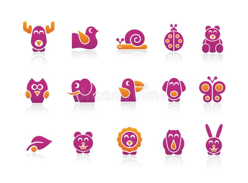 Stylized Animals 2. Set of stylized animals to use in your, ecologic, kids products or travel projects. Easy to change colors vector illustration