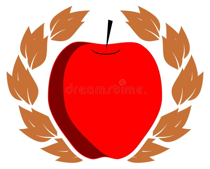 Stylized apple with crown of leaves, Illustration in green and red, isolated. A simple but elegant image whose main subject is a stylized apple. This image can stock illustration