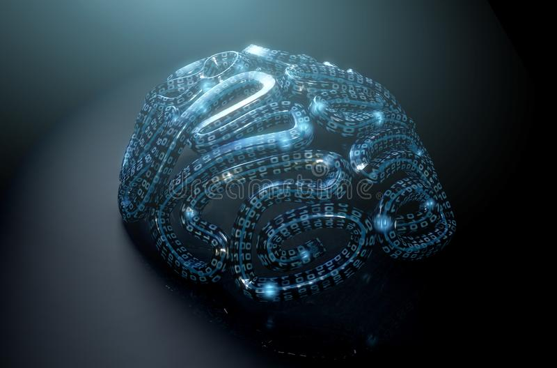 Stylized Artificial Intelligence Brain stock illustration