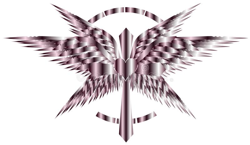 Stylized artistic Cross with wings and heart isolated. A particular and elegant model of cross decorated with wings of bird royalty free illustration