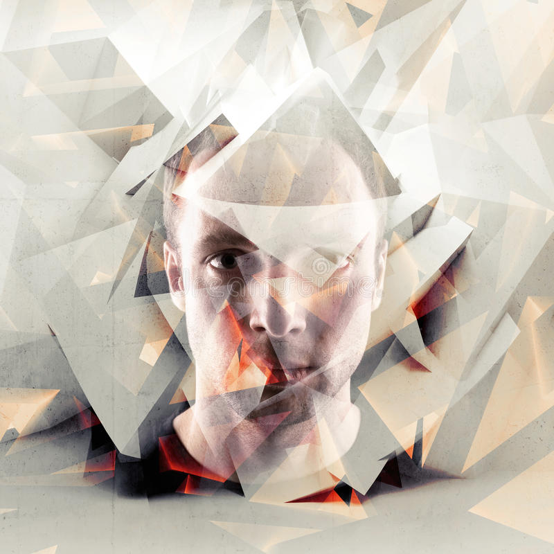 Stylized artistic young man portrait with chaotic polygons. Stylized artistic conceptual young man portrait with chaotic polygonal broken fragments stock image
