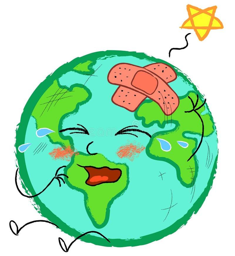 Stylized band-aid globe stock illustration