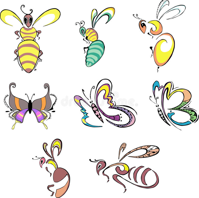 Stylized bees, wasps and butterflies. Stylized insects - bees, wasps and butterflies. Set of color vector animal icons vector illustration