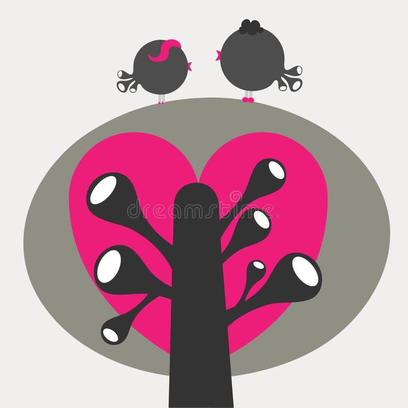Free Stylized Bird Couple On Tree Royalty Free Stock Image - 14652606