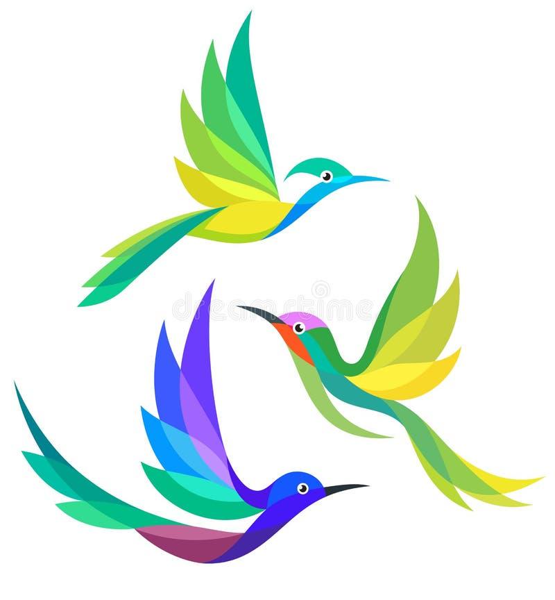 Stylized Birds in flight. Stylized Colorful Birds in flight - Bee-eaters vector illustration